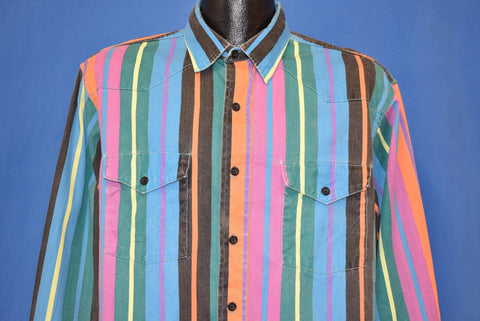 90s Wrangler Colorful Striped Western Cowboy Shirt Large