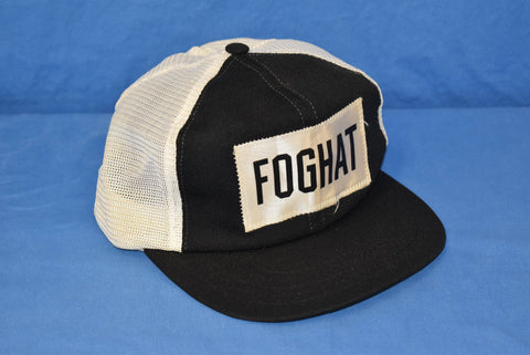 70s Foghat Rock Band Black Patch Mesh Trucker Hat