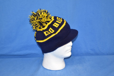 80s Notre Dame Go Blue Brim Bobble Winter Hat