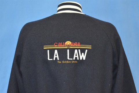 80s LA Law TV Show Satin Wool Reversible Jacket Small