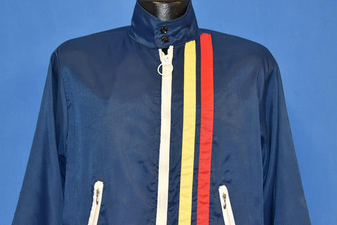 70s Cap'N Jac Blue Yellow Red Striped Racing Jacket Medium