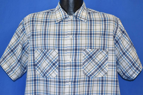 50s White Blue Square Bottom Button Down Shirt Large