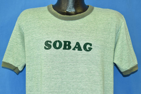 80s Sobag Iron On Green Heather Ringer Rayon Tri Blend t-shirt Large