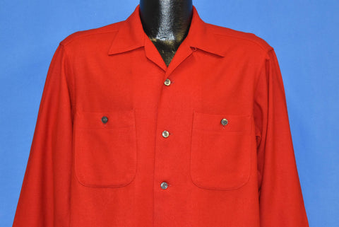 70s Pendleton Wool Red Button Front Shirt Medium