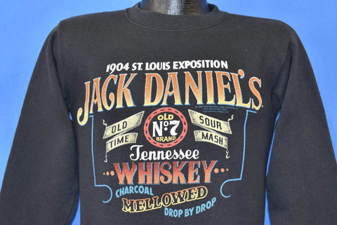 80s Jack Daniels Tennessee Whiskey Bottle Label Sweatshirt Small