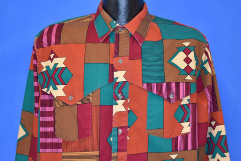 90s Wrangler Aztec Print Western Button Down Shirt Large Tall