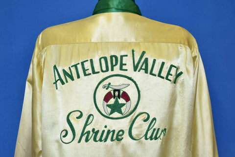 40s Antelope Valley Shrine Club Satin Bowling Jacket Large