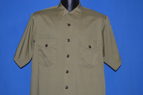 70s Boy Scouts Official Button Down Uniform Shirt Large