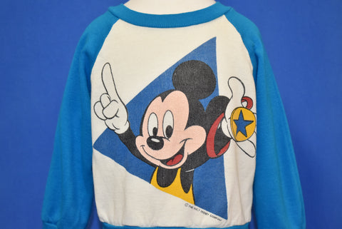 80s Mickey Mouse Wrestling Raglan Sweatshirt Youth Small