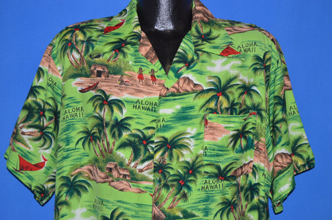 60s Island Fashions Rayon Big Collar Aloha shirt Extra Large