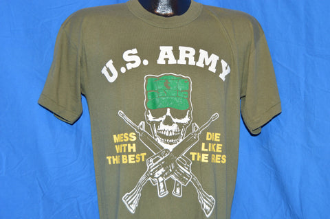 80s US Army Mess With the Best Dies Like the Rest Olive Drab t-shirt Medium