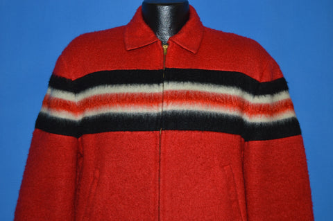 60s Red Black White Striped Reversible Jacket Large