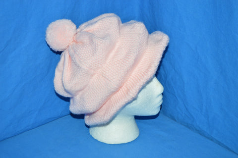 70s Pink Brim Bobble Womens Winter Hat