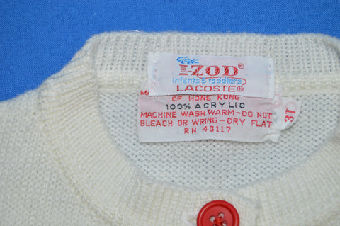 70s IZOD Lacoste Striped Cardigan Sweater Toddler 3T