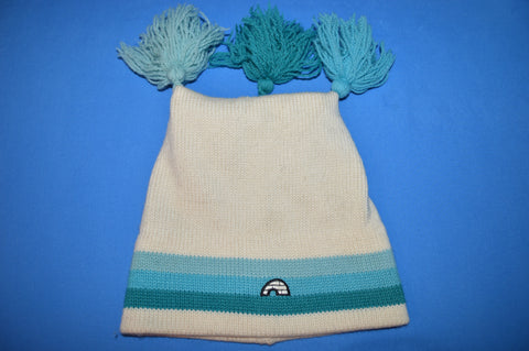80s Igloo White Blue Three Bobble Wool Winter Hat