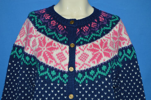 80s Ashley Pastel Snowflake Knit Cardigan Sweater Women's Large