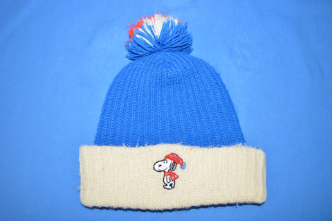70s Snoopy Peanuts Bobble Acrylic Knit Winter Ski Hat