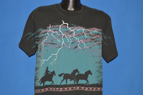 90s Cowboy Lightning All Over Print t-shirt Extra Large