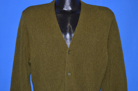 60s Dark Green Wool Mod Cardigan Sweater Large
