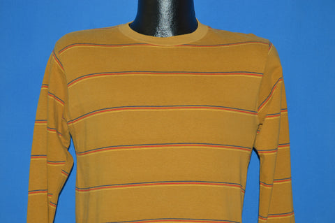 60s Mustard Yellow Striped Long Sleeve Surf t-shirt Small