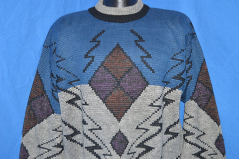 90s Michael Gerald Gray Blue Geometric Sweater Large