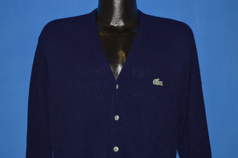80s Izod Lacoste Navy Blue Cardigan Sweater Medium
