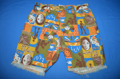 70s Funky Pattern Women's Lib Cut Off Shorts Size 30