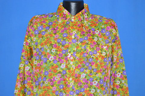 70s Skyr Floral All Over Print Men's Disco Shirt Large