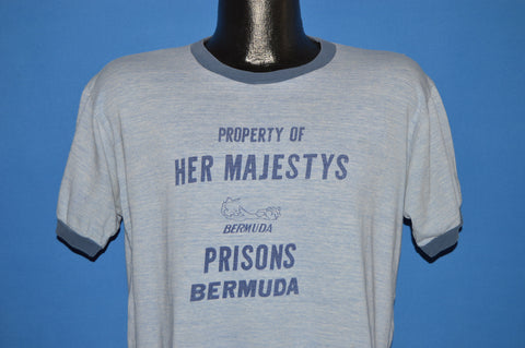 70s Bermuda Property of Her Majesty Ringer t-shirt large
