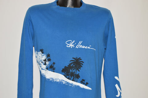 80s Hawaii Skiing Palm Tree Long Sleeve t-shirt Medium