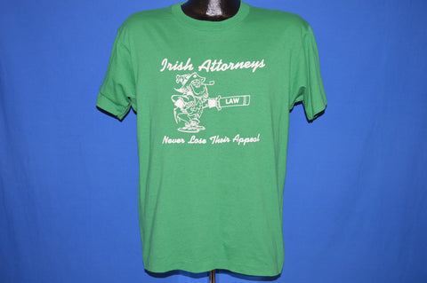 80s Irish Attorneys Never Lose Leprechaun t-shirt Large