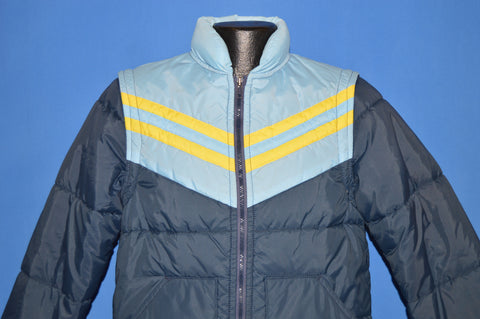 70s Blue Chevron Convertible Ski Jacket Small