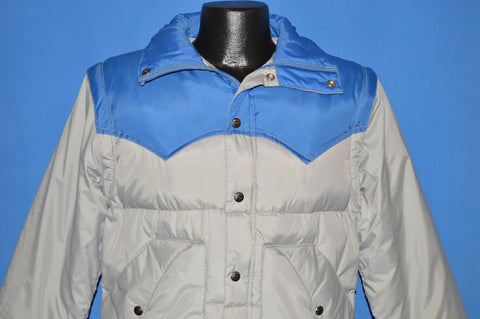 70s Gray And Blue Convertible Ski Jacket Small