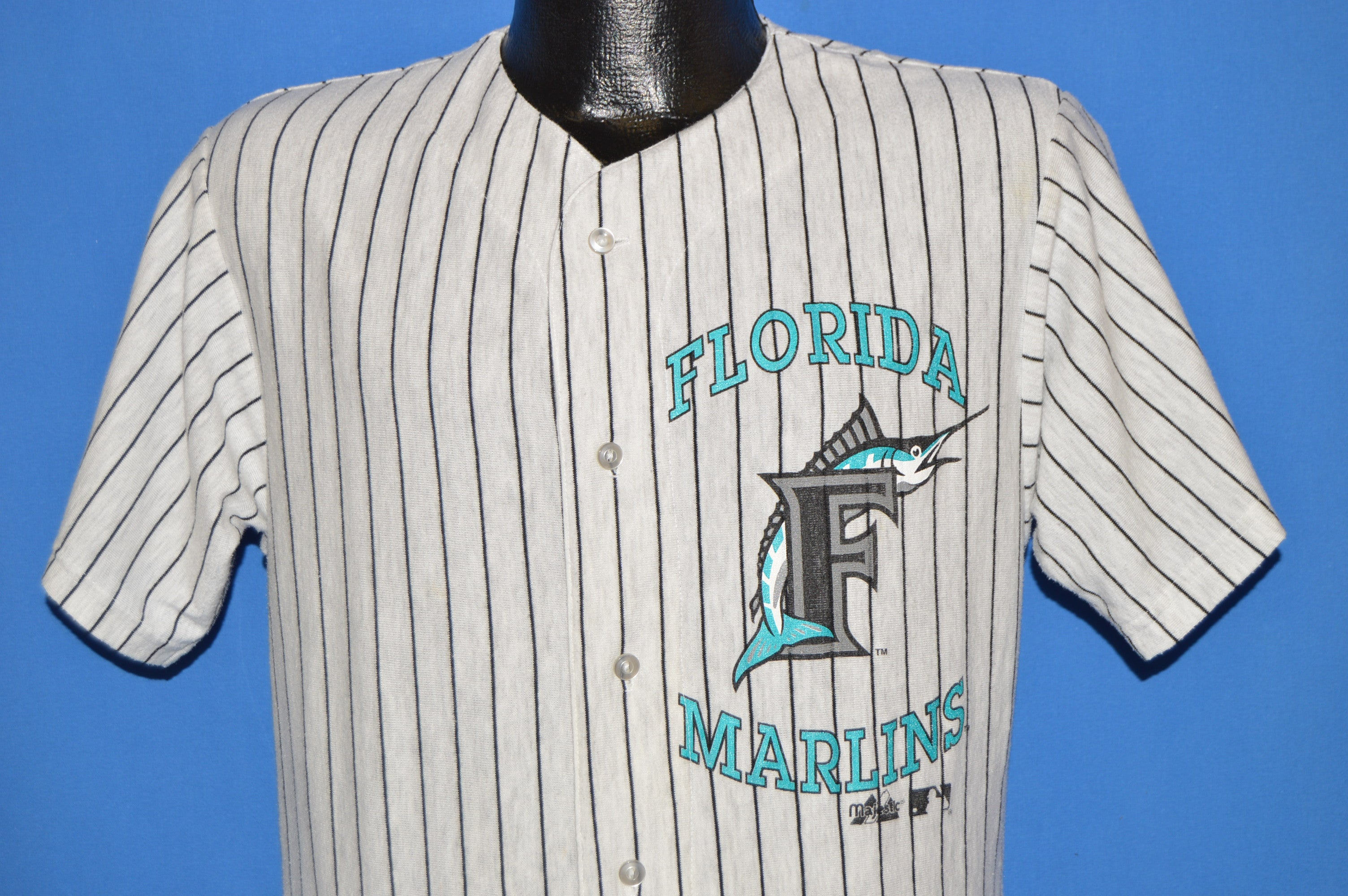 685b6787a 80s Florida Marlins Pinstripe Button Up t-shirt Large - The Captains ...