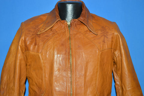 70s Brown Leather Worn In Jacket Size 42