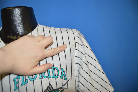 80s Florida Marlins Pinstripe Button Up t-shirt Large