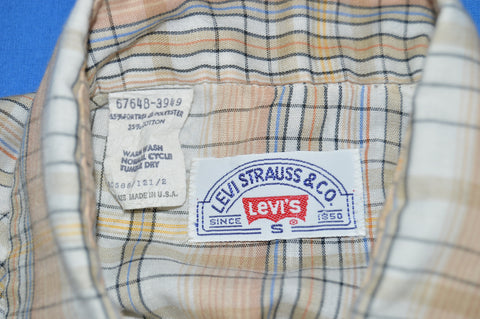 80s Levi's Peach Tan Pearl Snap Western Shirt Small