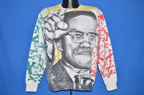 90s Malcolm X All Over Print Hip Hop Sweatshirt Large
