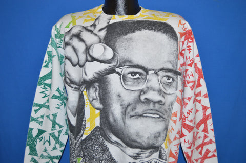 90s Malcom X All Over Print Hip Hop Sweatshirt Large