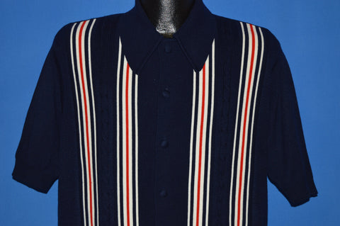 70s Red, White and Blue Striped Men's Button Front Shirt Medium
