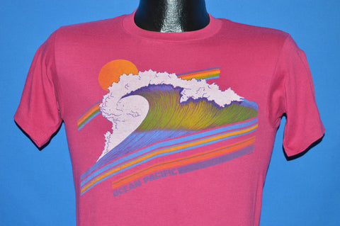 80s OP Rainbow Ocean Wave Sunset t-shirt Youth Extra Large