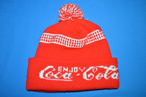 80s Coca Cola Red Bobble Winter Hat
