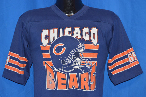 80s Chicago Bears Blue Orange Striped Football Jersey t-shirt Small