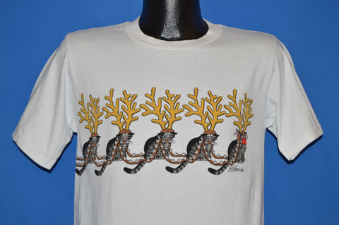 80s B Kliban Fat Cat Santa Reindeer t-shirt Small