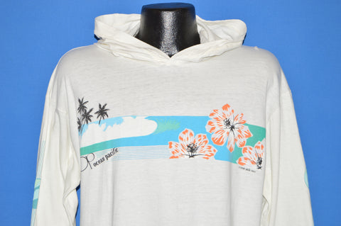 80s Ocean Pacific Sunset Beach Hooded t-shirt Large