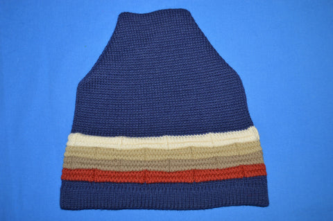 70s Wigwam Blue Striped Wool Winter Hat
