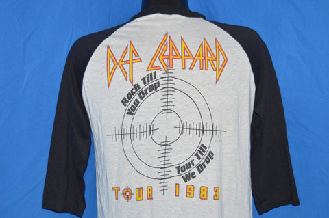 80s Def Leppard Pyromania Tour 1983 Black White 3/4 Sleeve Jersey t-shirt Medium