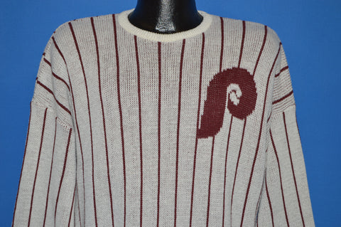 80s Philadelphia Phillies Pinstriped Cliff Engle Sweater Large