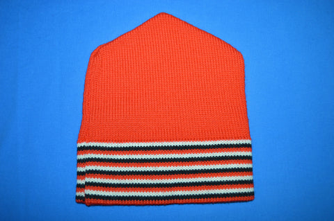 70s Red Black White Striped Wool Winter Hat