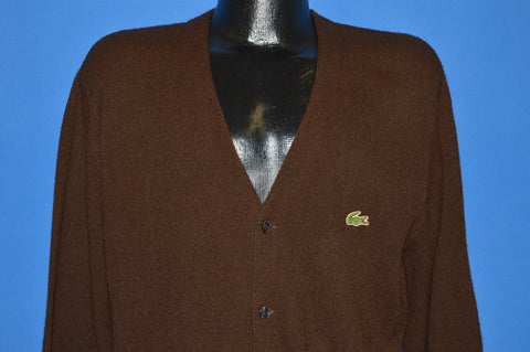 80s Izod Lacoste Brown Cardigan Sweater Large